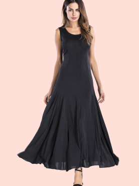 Scoop Neck Sleeveless Maxi Swing Dress