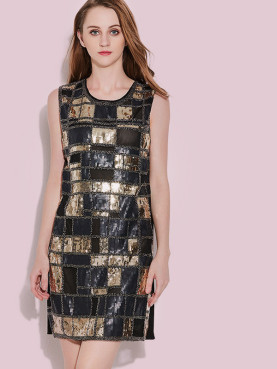 Sleeveless Contrast Sequins Check Mini Dress