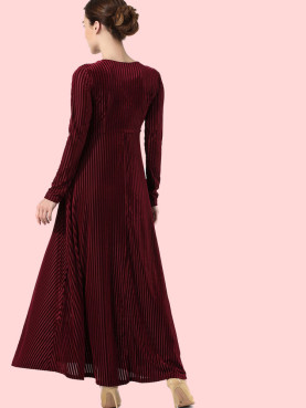 Plus Size Wrap Front Long Sleeve Velvet Striped Maxi Swing Dress