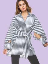 Split Sleeve Stepped Hem Loose Striped Shirts with Belt