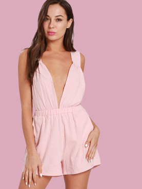 Cross Tie Back Deep Plunge Sleeveless Playsuits with Ruched Detail