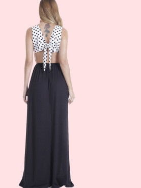 Short Sleeve Maxi Wrap Dress In Spot Print with Belt