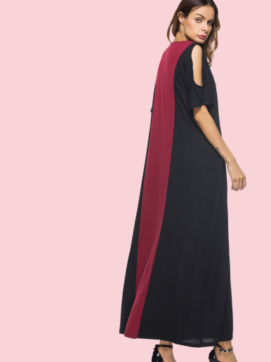 OneBling Open Shoulder Batwing Sleeve V-Neck Maxi Two Tone Dress
