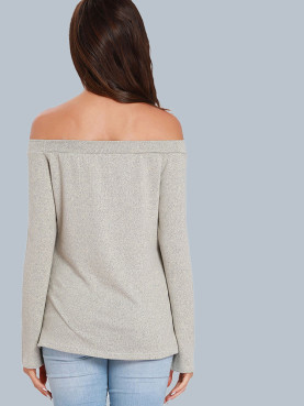 Space Dye Off Shoulder Jumper with Pom Poms