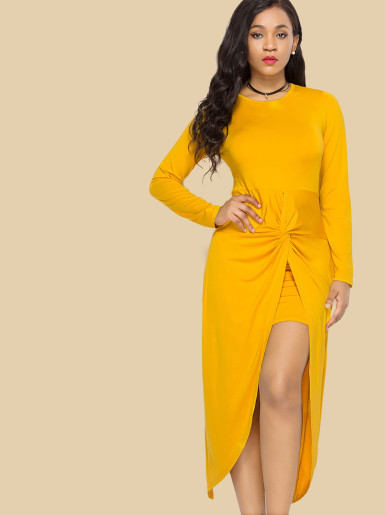 OneBling Plus Size Twist Front Asymmetric Hem Long Sleeve Dress