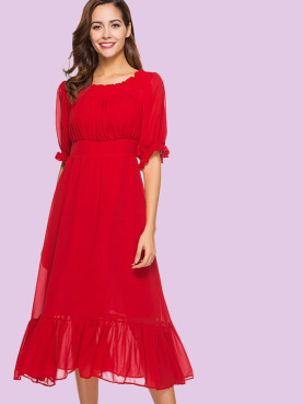 Ballon Sleeve Pleated Detail Shirred Off Shoulder Dress with Pephem