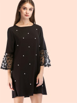 OneBling 3D Floral Contrast Lace Sleeve Mini Dress with Pearl Embellished