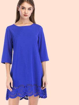 Laser Cut Hem Boat Neck Mini Dress with 3/4 Sleeve