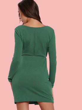 Long Sleeve Wrap Front Rib Knit Dress