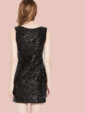 Sleeveless Square Collar Mini Pencil Dress In All Over Sequins