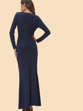 Twist Front Long Sleeve Deep Plunge Maxi Dress