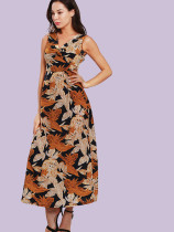 Contrast Leaf Print Knot Front Sleeveless Maxi Dress