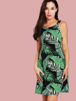 Tie Back Cut Out Halter Dress In Leaf Print