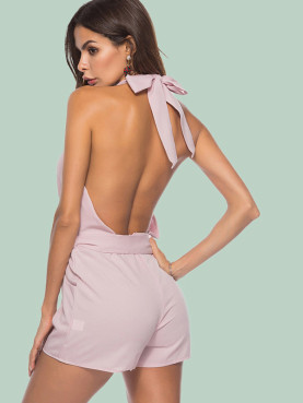 Open Back Wrap Front Tie Waist Pockets Detail Playsuit