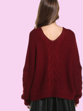 Oversized Chunky Cable Knit High Neck Batwing Sleeve Sweater