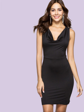 Sleeveless Draped V-Neck Strappy Back Bodycon Mini Dress