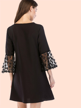 3D Floral Contrast Lace Sleeve Mini Dress with Pearl Embellished