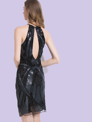 OneBling Cut Out Back Halter Neck Midi Dress In All Over Sequins and Beaded
