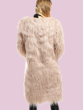 Wrist Sleeve Faux Fur Long Jacket