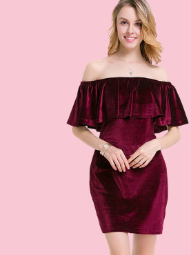 Velvet Ruffles Off Shoulder Mini Dress
