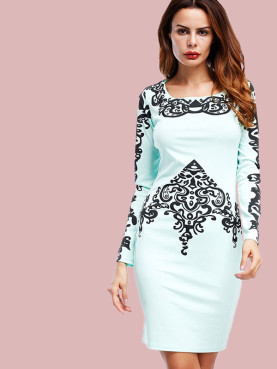 Tribal Print Square Collar Long Sleeve Pencil Dress
