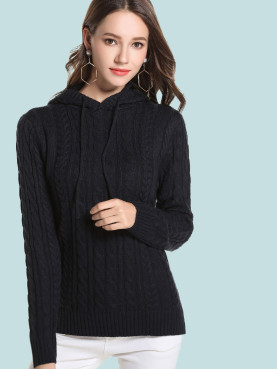 Ribbed Trim Cable Knit Hooded Sweater