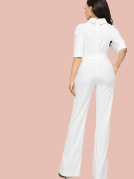 Plus Size Half Sleeve Mock Neck Tie Waist Jumpsuit