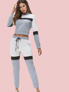 Three Tone Zipper Detail Crop Hoodies and Pockets Pants Sets