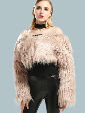 Long Sleeve Cropped Faux Fur Off Shoulder Coat