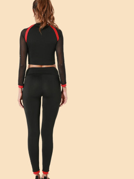 Red Tape Mesh Sleeve Crop Tops and Skinny Pants Set