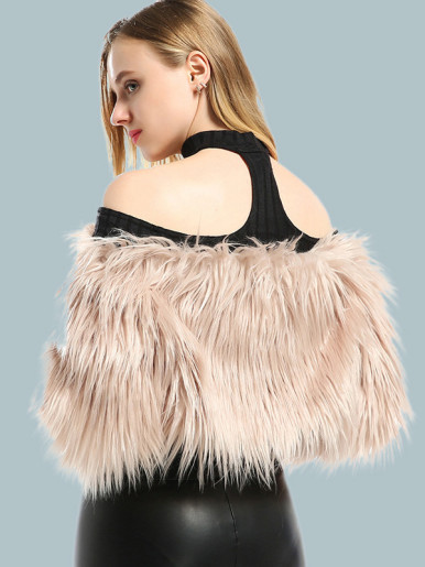 OneBling Long Sleeve Cropped Faux Fur Off Shoulder Coat