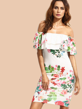 Off Shoulder Bodycon Midi Dress In Botanical Print with Ruffles Layer