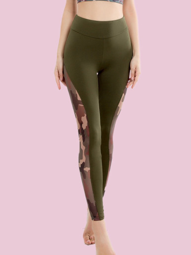 Camouflage Mesh Contrast High Waist Legging with Ruched Back