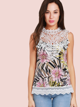 Guipure Lace Yoke Sleeveless Printed Tops