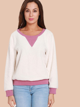 Contrast Trim Faux Fleece Sweatshirt