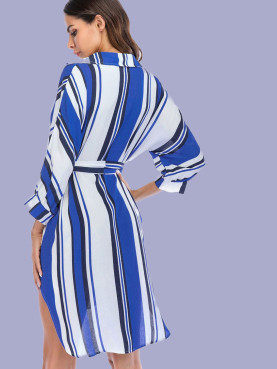 Batwing Sleeve Striped High Low Dress with V-Neck and Belt