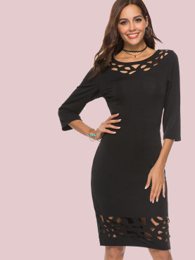 Geo Cut Out Boat Neck Midi Pencil Dress with 3/4 Sleeve