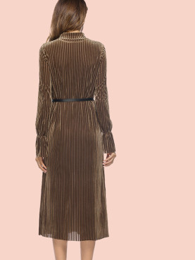 Velvet Striped Fluted Sleeve Mock Neck Midi Dress with Belt
