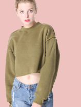 OneBling Drop Shoulder Raw Hem Crop Sweatshirt with Piping Detail
