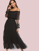 OneBling Lace Contrast Sleeve Off Shoulder Tiered Maxi Dress
