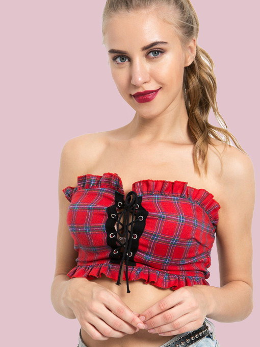 Frill Trim Shirred Back Eyelet Tie Front Contrast Check Bandeau Crop Tops