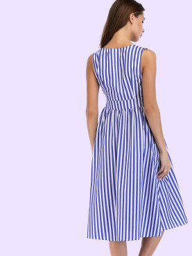 Button Detail Wrap Front Striped Sleeveless Dress with Pockets