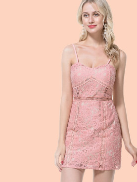 Floral Lace Cami Dress with Ladder Detail