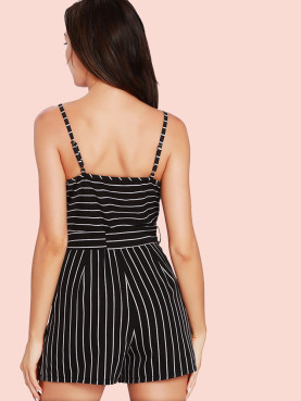 Wrap Front Mixed Striped Playsuit with Pockets