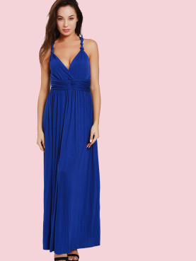Knot Strap Ruched Waist Wrap Front Maxi Swing Dress