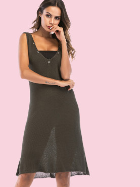 Eyelet Detail Sleeveless Deep Plunge Mini Dress