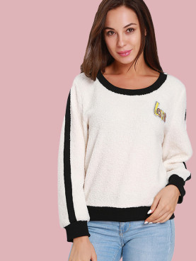 Love Appliques Rhinestone Detail Faux Fleece Sweatshirt with Tipping