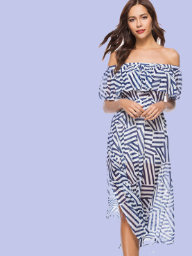 Geometric Print Slit Side Ruffles Off Shoulder Midi Dress