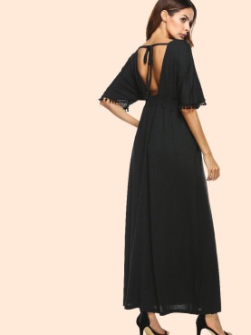 Tie Back Batwing Sleeve Pom Pom Detail Maxi Dress In Black