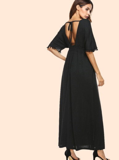 OneBling Tie Back Batwing Sleeve Pom Pom Detail Maxi Dress In Black